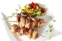 Chicken skewers from thigh fillets
